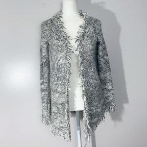ZARA Knit Black and White Fringe Cardigan